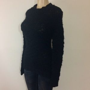 Mossimo Sweater S Black Chunky Tunic High Neck